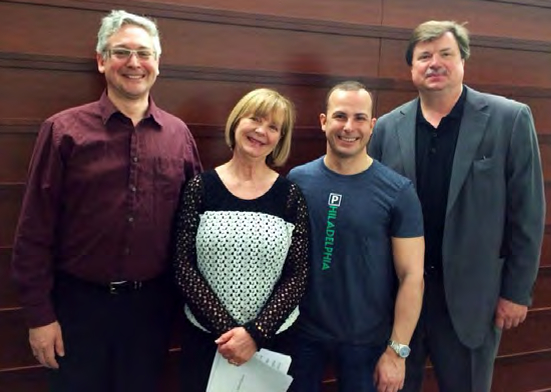 During an April trip to Philadelphia, ICSOM Chairperson Bruce Ridge (right) meets with Philadelphia Orchestra musicians backstage at Verizon Hall at the Kimmel Center for the Performing Arts. Also pictured are (left to right): ICSOM delegate John Koen, musicians' chair Gloria dePasquale, and Music Director Yannick Nézet-Séguin. Ridge also met with Local 77 President Joe Parente and members of the orchestra's management.