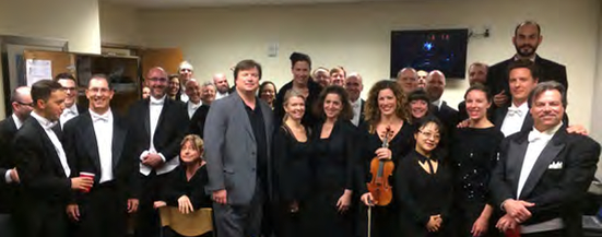 ICSOM Chairperson Bruce Ridge visits with musicians of the Virginia Symphony backstage at the Sandler Center in Virginia Beach on April 7. Ridge returned in May to meet with the full orchestra in Norfolk.