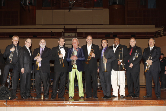 The author with some of the Cancer Blows guest artists (left to right): Lee Loughnane, Jeff Tyzik, Vince DiMartino, Doc Severinsen, Jens Lindemann, Anthony DiLorenzo, Wycliffe Gordon, Phil Smith, Arturo SandovalPhoto credit: Dana Driensky