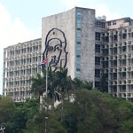 A building in Havana with a large portrait of Che Guevara