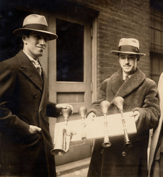 Composer George Gershwin (left) with Cincinnati Symphony Orchestra percussionist James Rosenberg, who performed the taxi horn parts in the orchestra's February 1929 performances of An American in Paris. Note: Rosenberg is the father of current Chicago Symphony Orchestra percussionist James Ross. Photo Courtesy of the Ira and Leonore Gershwin Trusts