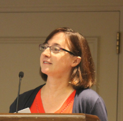 Delegates Barb Corbato (Grand Rapids) reporting on recently concluded negotiationsPhoto credit: Dan Sweeley