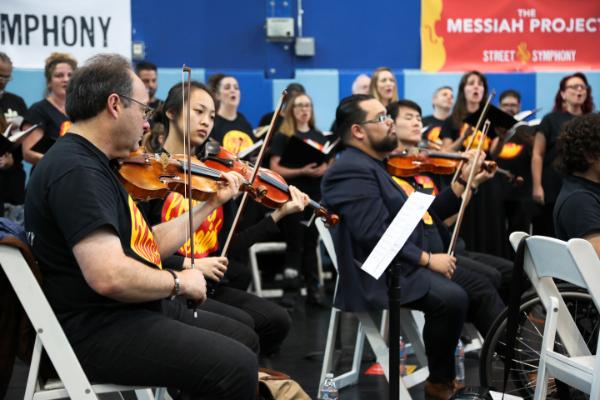 LA Philharmonic violinist Mitch Newman, Colburn Conservatory student Chandler Yu, Vijay GuptaPhoto credit: Kat Bawden